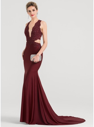 Trumpet/Mermaid V-neck Court Train Jersey Evening Dress With Beading Sequins