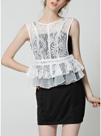 Lace With Lace/Stitching/Ruffles Above Knee Dress