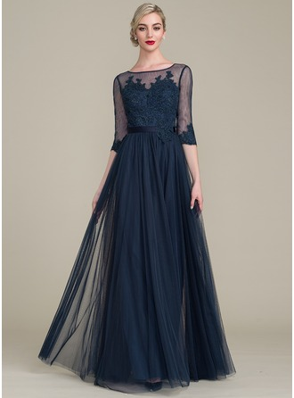 A-Line/Princess Scoop Neck Floor-Length Tulle Lace Evening Dress With Sequins