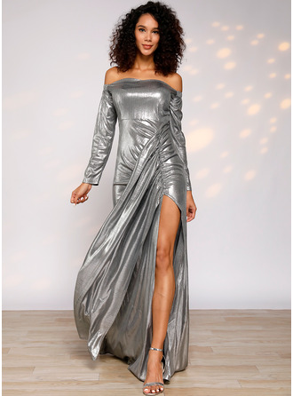 Spandex With Sequins/Solid/Slit Maxi Dress