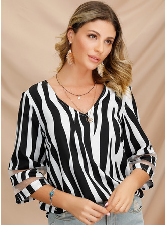 1/2 Sleeves Polyester V Neck Bluzlar
