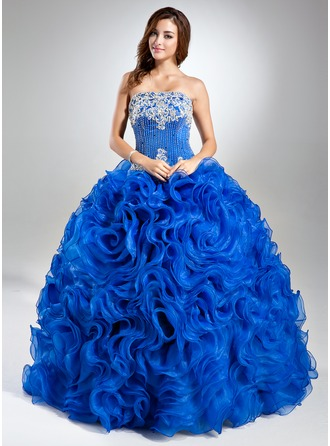 Ball-Gown Strapless Floor-Length Organza Quinceanera Dress With Lace Beading Sequins Cascading Ruffles