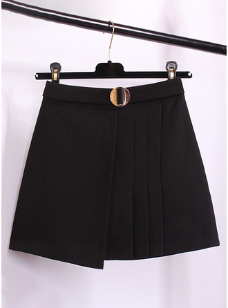 Pleated Skirts Above Knee Plain Cotton Blends Skirts
