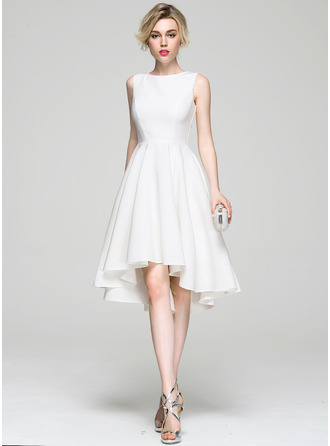 A-Line/Princess Scoop Neck Asymmetrical Stretch Crepe Cocktail Dress
