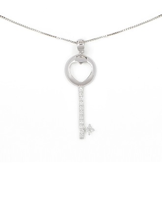 Silver Cubic Zirconia Key Pendant Necklace For Girlfriend