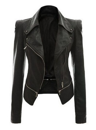 Leather Long Sleeves Plain Jackets Coats