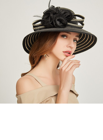Ladies' Glamourous/Classic Papyrus With Feather/Flower Beach/Sun Hats/Kentucky Derby Hats/Tea Party Hats