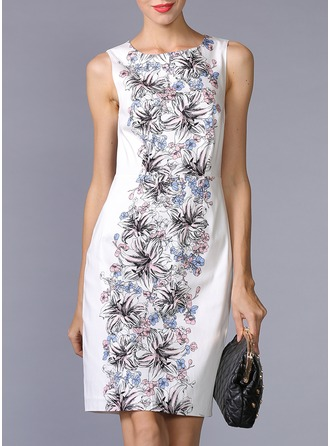Polyester/Silk With Print Above Knee Dress