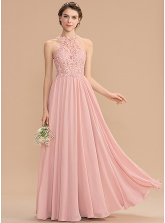 Scoop Neck Sweep Train Chiffon Lace Bridesmaid Dress With Sequins