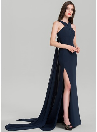 Sheath/Column V-neck Court Train Chiffon Evening Dress With Split Front