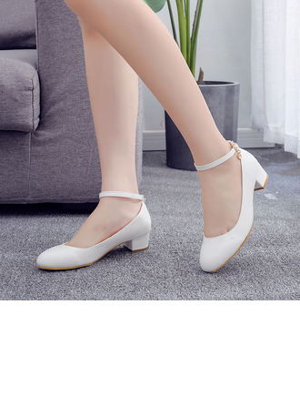 Kids' Leatherette Chunky Heel Closed Toe Pumps MaryJane With Button