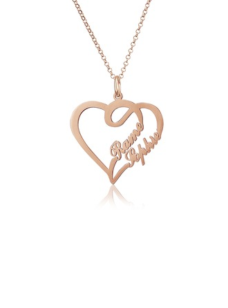 Personalized 18k Rose Gold Plated Heart Two Name Necklace