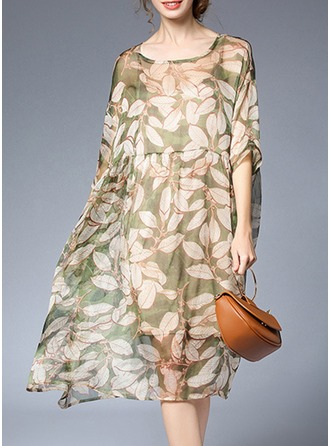 Chiffon With Stitching/Print Knee Length Dress (Two Pieces )