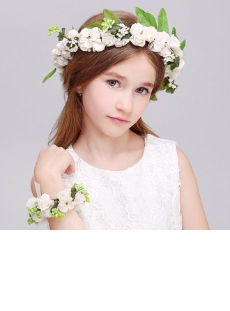 Plastic With Ribbon Flower Headband ( Including Wrist Corsage)