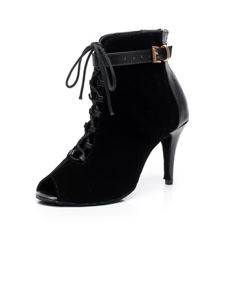 Women's Real Leather Suede Heels Boots Dance Boots Dance Shoes