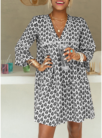 Print Shift V-Neck Long Sleeves Flare Sleeve Midi Casual Vacation Tunic Dresses