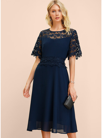 Lace With Lace/Hollow/Solid Midi Dress