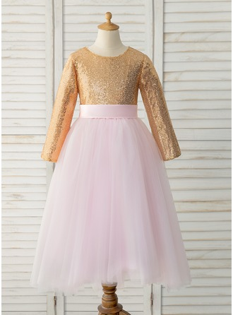 Floor-length Flower Girl Dress - Tulle Sequined Long Sleeves Scoop Neck