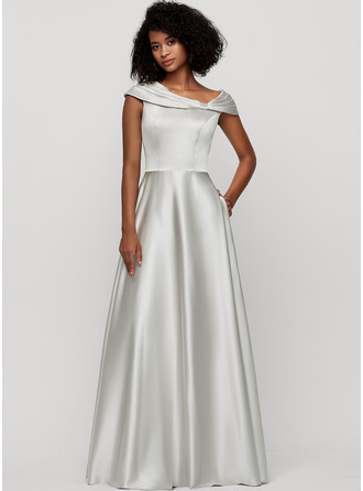 V-neck Floor-Length Satin Evening Dress With Pockets
