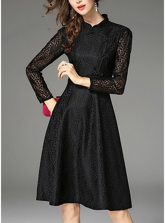 Lace With Lace/Stitching/Embroidery/Hollow/Crumple Knee Length Dress