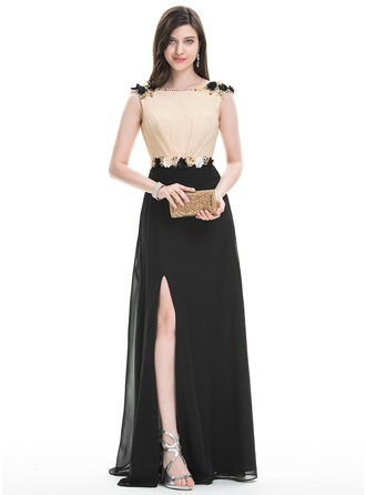 A-Line/Princess Scoop Neck Floor-Length Chiffon Evening Dress With Flower(s) Sequins Split Front
