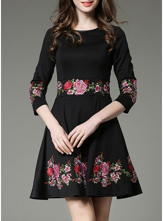Cotton Blends With Embroidery/Crumple Above Knee Dress
