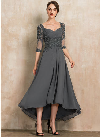 Sweetheart Asymmetrical Chiffon Lace Mother of the Bride Dress With Beading Sequins