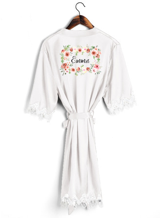 Personalized Charmeuse Bride Bridesmaid Mom Junior Bridesmaid Lace Robes Embroidered Robes