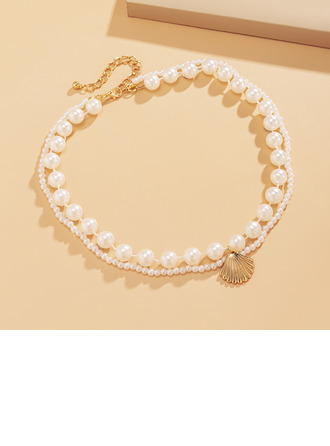 Ladies' Elegant Alloy/Imitation Pearls Necklaces For Bride/For Bridesmaid/For Mother
