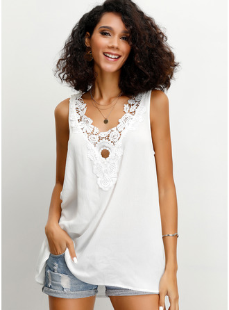 Sleeveless Cotton Blends Round Neck Tank Tops Blouses