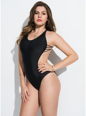 Sexy Solid Color Spandex Lycra One-piece Swimsuit
