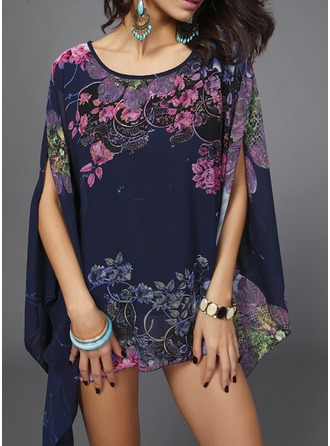 Chiffon Round Neck Print Batwing Sleeve Casual Blouses