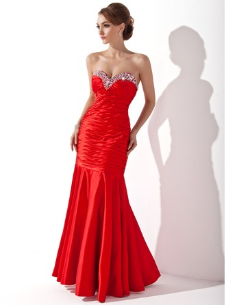 Trumpet/Mermaid Sweetheart Floor-Length Charmeuse Holiday Dress With Ruffle Beading