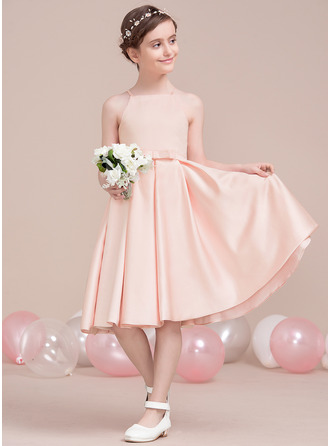 Square Neckline Knee-Length Satin Junior Bridesmaid Dress