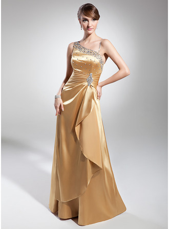 Floor-Length Charmeuse Evening Dress With Ruffle Beading Sequins