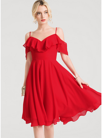 V-neck Knee-Length Chiffon Cocktail Dress With Cascading Ruffles
