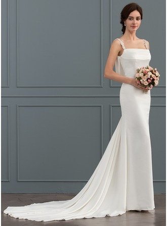Trumpet/Mermaid Square Neckline Chapel Train Stretch Crepe Wedding Dress With Beading