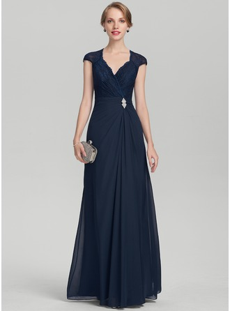 A-Line/Princess V-neck Floor-Length Chiffon Lace Mother of the Bride Dress With Beading