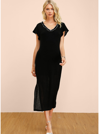 Polyester/Cotton With Solid/Slit Midi Dress