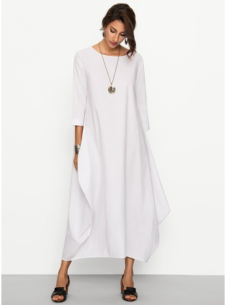 Linen With Stitching Maxi Dress