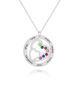 Custom Silver Overlapping Birthstone Necklace Family Necklace With Heart - Birthday Gifts Mother's Day Gifts