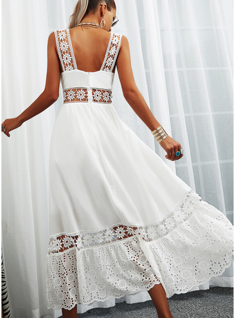 Lace Solid Backless A-line Square Neck Sleeveless Maxi Vacation Skater Dresses
