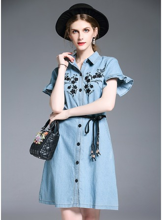 Polyester/Cotton With Stitching/Embroidery Above Knee Dress