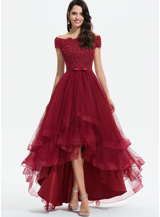 Off-the-Shoulder Asymmetrical Tulle Prom Dresses With Beading Sequins Bow(s)