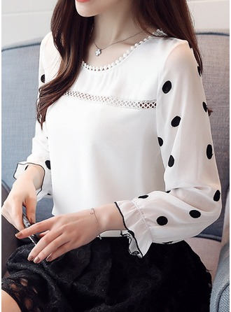 Print Langermer Chiffong round Neck Casual Bluser Bluser