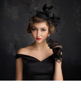 Dames Accrocheur Feather/Fil net/Tulle/Lin avec Feather Chapeaux de type fascinator