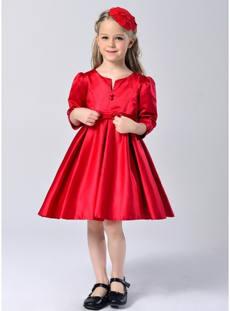 A-Line/Princess Knee-length Flower Girl Dress - Polyester Long Sleeves Scoop Neck With Bow(s)