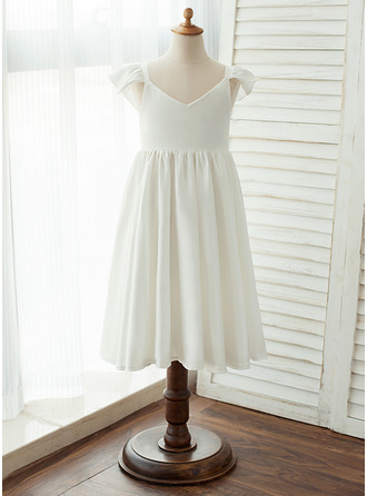 Knee-length Flower Girl Dress - Chiffon/Satin Short Sleeves V-neck