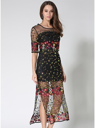Organza With Lace/Mesh/Jacquard/Embroidery/See-through Look Midi Dress (Two Pieces )
