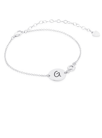 [Free Shipping]Christmas Gifts For Her - Custom Sterling Silver Link & Chain Initial Bracelets Birthstone Bracelets (106218400)